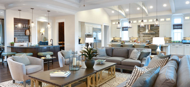 Arthur Rutenberg Homes: Spacious living room area, dining room and kitchen
